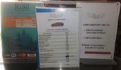 アンヘレスのルミホテルの料金や送迎サービス