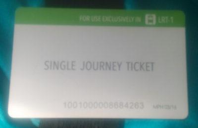 マニラのLRT-1(電車)のチケット