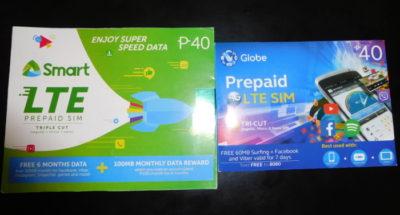 フィリピンのSmartとglobeのLTESIM