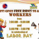 【マニラ】5/1のLabor DayはLRT-2とMRT-3の通勤者は無料乗車