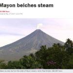 マヨン火山から蒸気とボホール島沖でM5.9の地震
