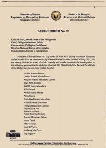フィリピン国防省(DND)の逮捕命令
