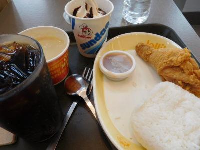 フィリピンのジョリビーのフライドチキン