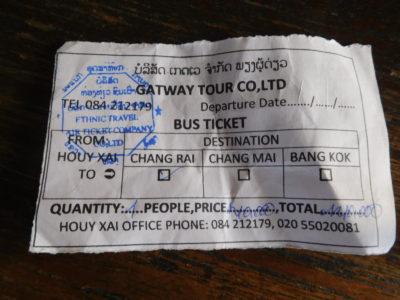 ルアンナムターの旅行会社で買った詐欺ミニバンチケット