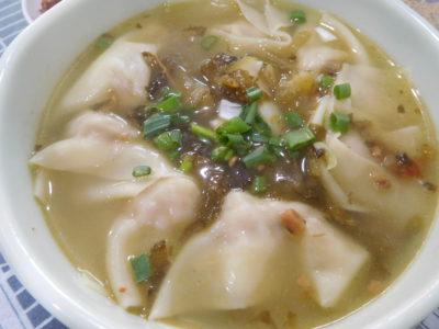 中国成都のおいしい永江本味抄手の高菜抄手