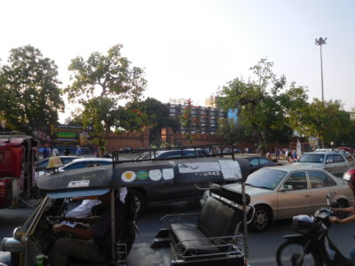 チェンマイのターぺー門周辺の渋滞