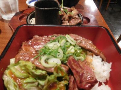 関西国際空港のぼてぢゅうのカットステーキとハラミ焼肉重