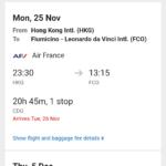 【お得エコノミークラス】香港(HKG)ローマ(FCO)往復AF約4.5万円