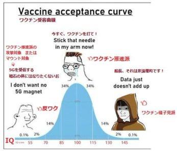 ワク受容曲線:コロ脳ワク信反ワク