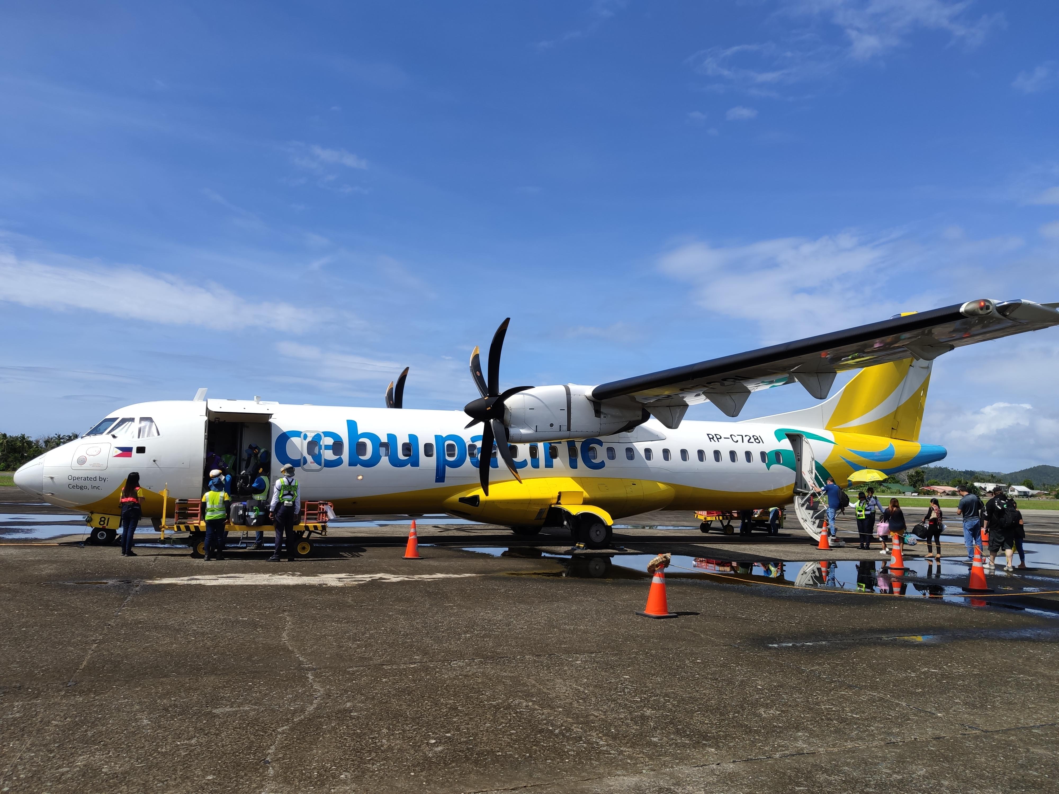 フィリピンのカルバヨグ空港のセブパシフィック機