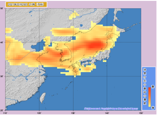 日本の危険な中国黄砂予測2021年3月29日